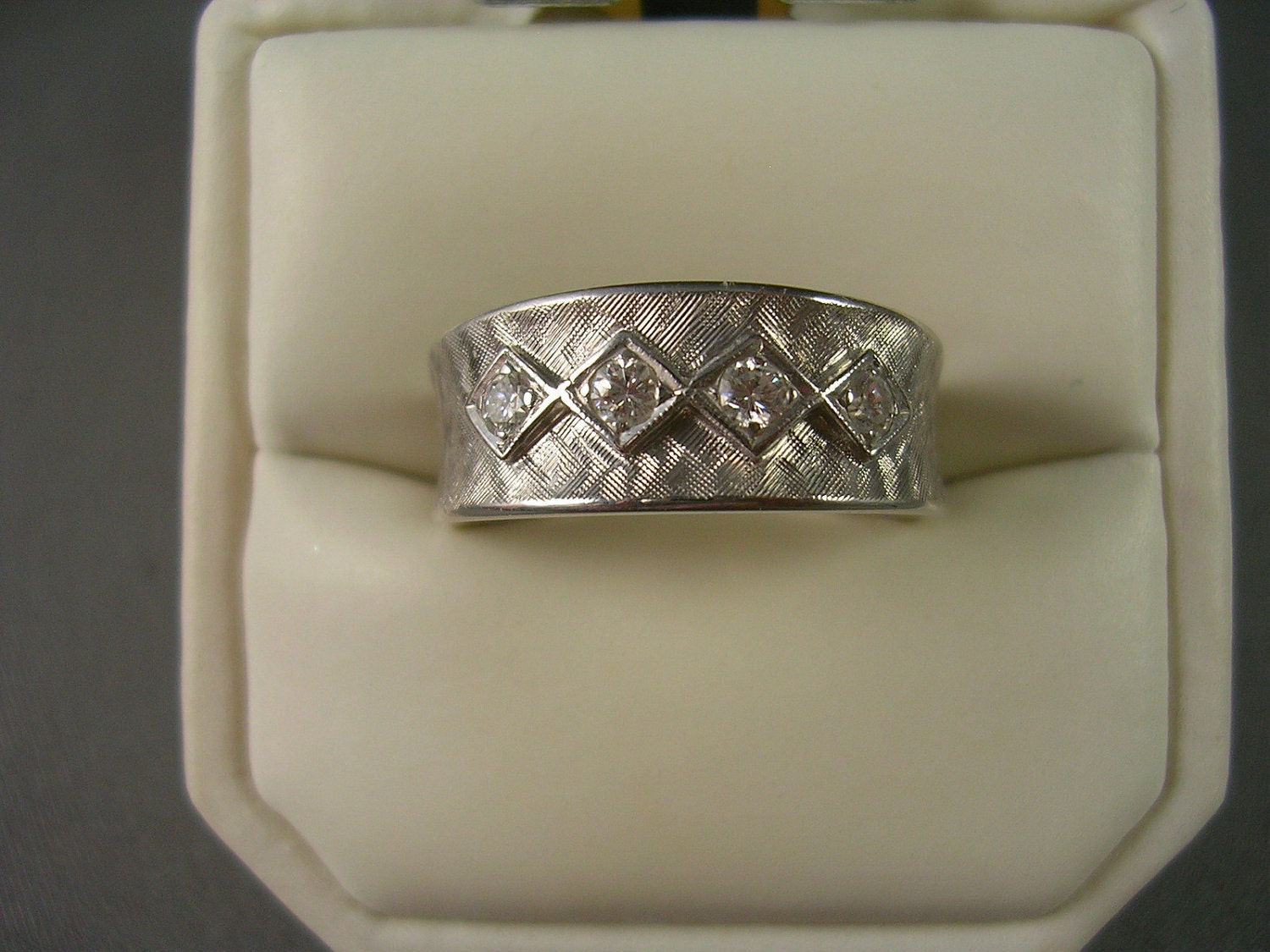 1960s cigar band ring 14k white gold by