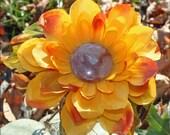 """Autumn Flower Headband - """"INDIAN SUMMER"""" - Women Girls Teen - OOAK  - Vintage Button - Fall Inspired - Thanksgiving"""