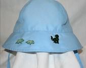 "Boys Blue Hat - ""DINO-FUN"" - Eco-Friendly, Upcycled Boys OOAK Bonnet/Cap - Light Blue Hat - Green Dinosaurs -"