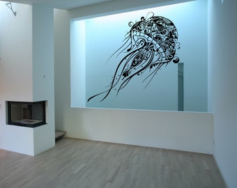 Jellyfish Wall Decal, Large Jellyfish, Vinyl Wall Decal,  Beach Decal, Beach Decor,  Ocean Decal, Nautical Wall Decor  22085