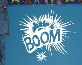 Comics Wall Decal - BOOM Explosion Vinyl Wall Graphic - Kids Room Decals - Kids Room Decor 22103