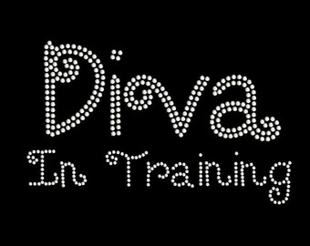 Diva In Training | Rhinestone Transfer | T Shirt Iron On | DIY Bling | Rhinestone Lettering 34034
