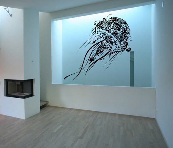 "Jellyfish Vinyl Wall Decal - Extra Large Jellyfish - Beach Wall Decals - Beach Decor - Jellyfish Nautical Wall Decor 40""W x 71.5""H 22085"