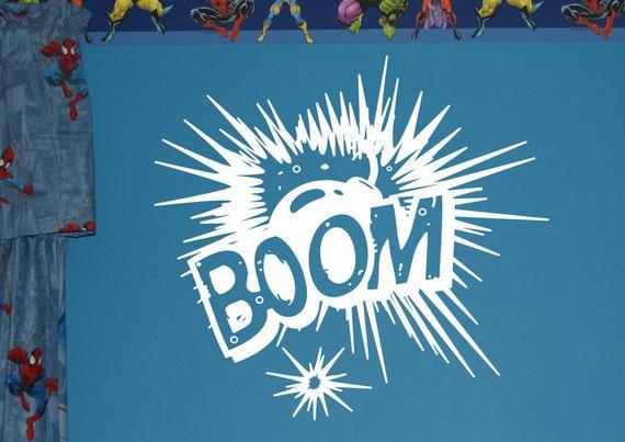 Comics Wall Decal - BOOM Explosion Vinyl Wall Graphic - Kids Room Decals - Kids Room Decor 22103