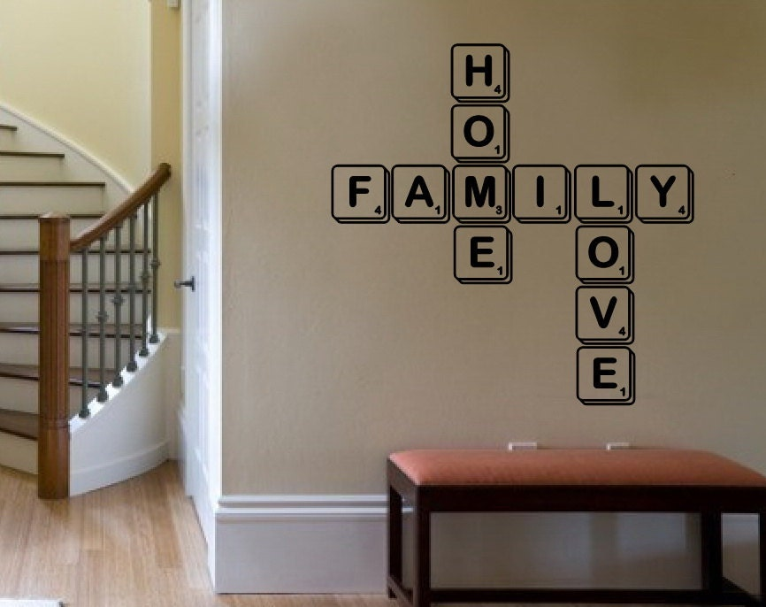 Wall Decal Family Home Love Scrabble Tiles By