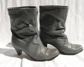 SLOUCHY Grey LEATHER BOOTS Size 9