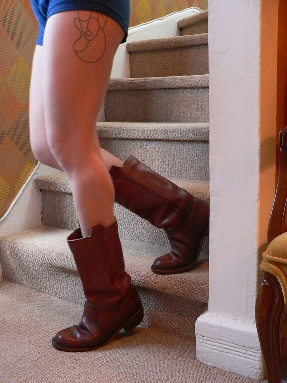 Amazing Warm MAROON Frye-style CAMPUS BOOTS mens 7.5 ladies 9.5