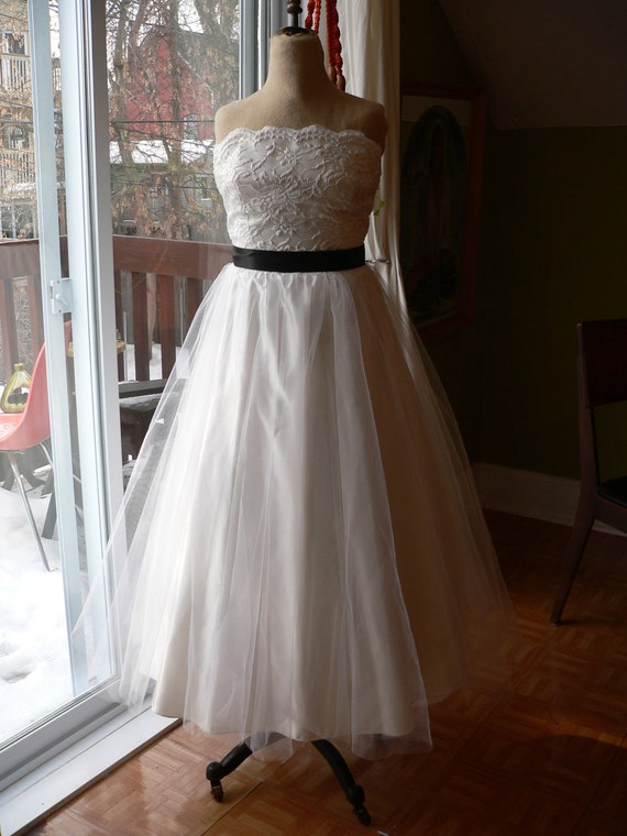 1950's TEA Length TULLE and LACE Wedding Gown with black satin belt