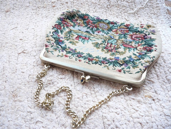 Prom Formal NEEDLE POINT Petite Pointe PURSE Embroidered Woven