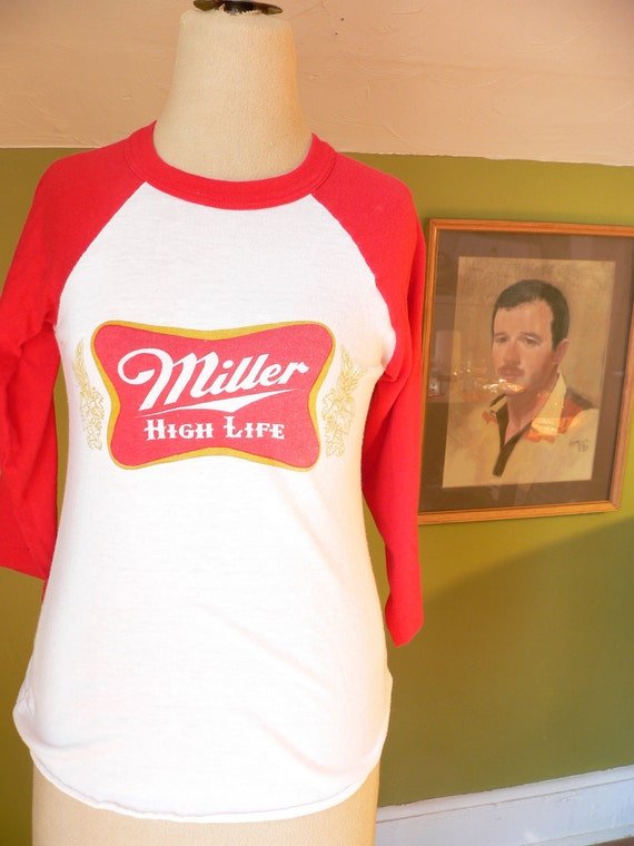Miller High Life VINTAGE BEER Raglan TSHIRT Ladies small