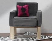 Sophisticated Grey Chair 1:6 Scale Natual Wood Legs Furniture Diarama (Barbie, Blythe, 12'' Fashion dolls, Bratz, Momoko)