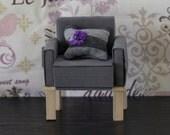 Modern Grey Chair 1/6 Scale Natual Wood Legs Furniture Diarama ( for Barbie, Blythe, 12'' Fashion dolls, Bratz, Momoko, BJD)
