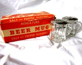 Beer Mug Salt and Pepper Shakers with Original Box -Great Christmas Gift For The Man- Vintage - Bar Ware - House Wares - Home Decor
