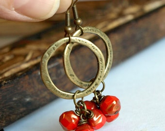 Hoop Earrings, Boho Chic earrings, Hoop Earrings in antiqued gold and Red