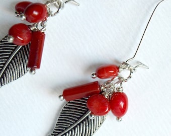 Red Coral  Earrings-Coral Silver  Cluster Earrings