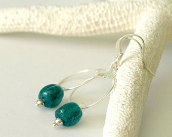 Silver Hoop Earrings with Dark Turquoise Glass