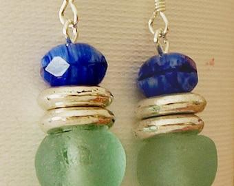 Aqua Blue glass earrings
