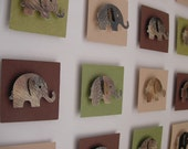 3D Wall Art for a Little One's Imagination - Elephant, Jungle, Brown, Tan, Green, Nursery - frame and glass included