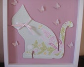 SALE: 3D Wall Art Pink and Green Flower Garden Cat - frame and glass included