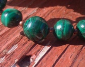 Vintage Holiday Malachite Bead and Copper Necklace - OOAK
