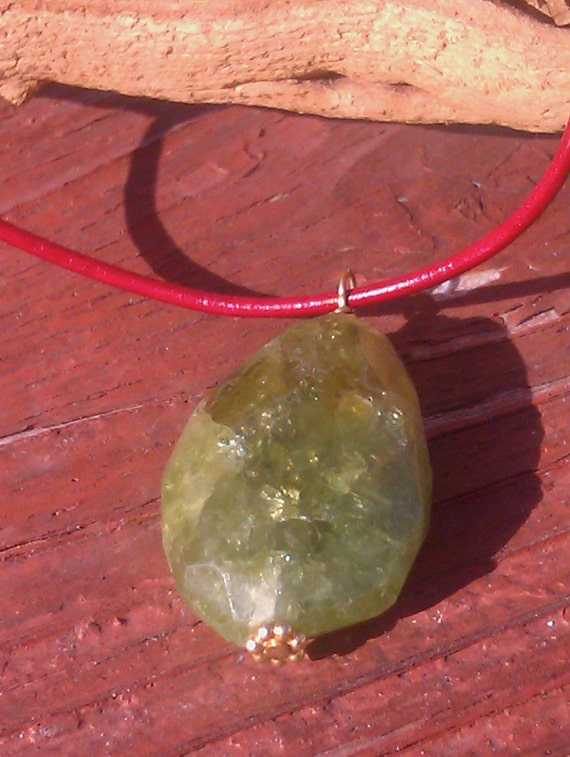 Green Garnet on Lucky Red Leather Christmas Necklace