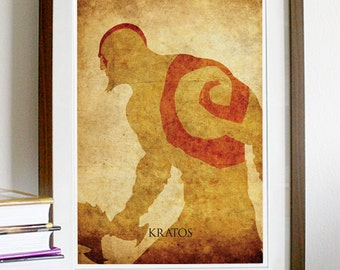 God of War Kratos Vintage Poster Print