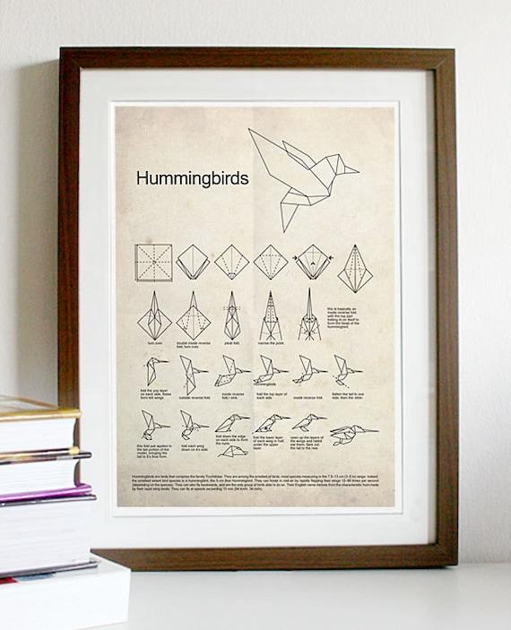 Hummingbird Origami Poster Print