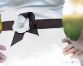 Brown Bridal Sash with Ivory Flower Detail