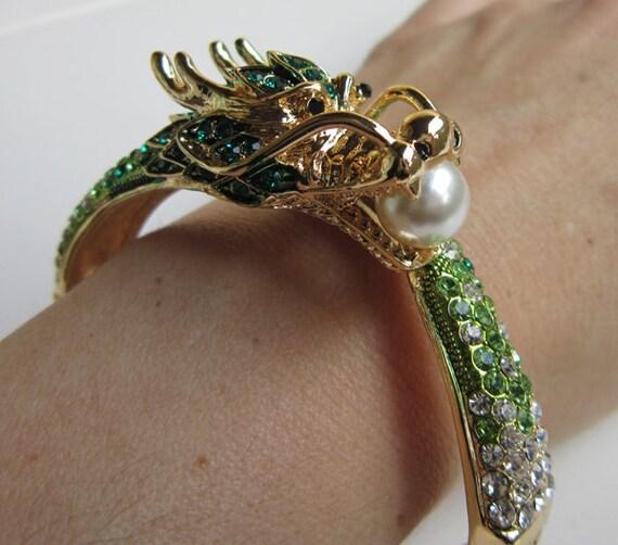 Chinese New Year Dragon Bracelet Bangle Cuff Green Swarovski