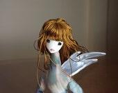 Ondine - Cloth Faerie Doll on a Mushroom