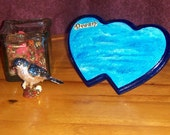 Christmasinjuly, Sale, Contemporary art blue hearts - painted ocean plaque - Waves of Dreams