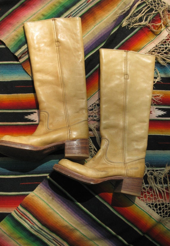 Vintage 70s FRYE Campus Boots Banana Leather Size 6 B Black Label- Womens