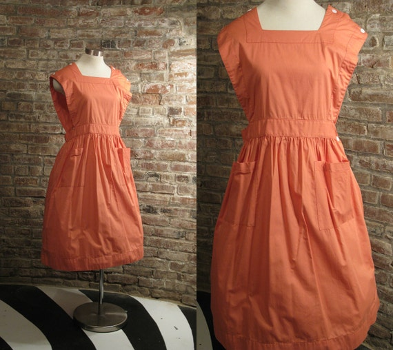 1950s Vintage Salmon Pink Apron House Dress Uniform by Angelica Large Size 40 Pinafore