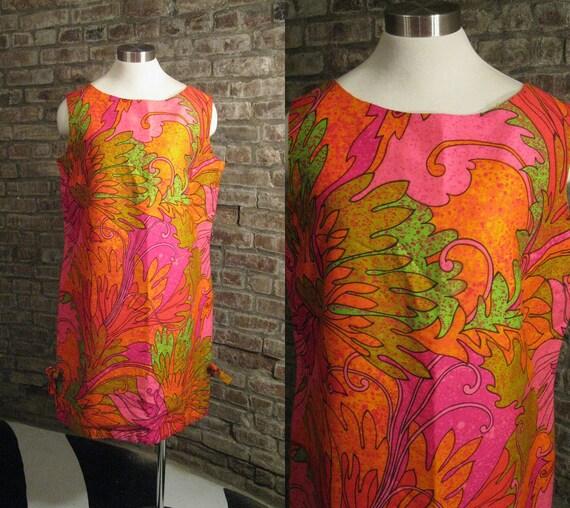 1960s Tiki Party Dress /  Casual Ceire /  Hawaiian Mini Shift Dress / Pink Orange Lime Neon / 40 bust
