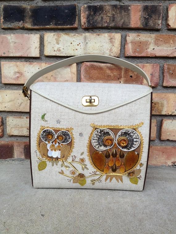 Reserved 1960s Owl Jewel Purse- A Kitschy Hoot Handbag