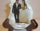 "Your wedding picture custom to fit oyster shell. With a 3"" easel."