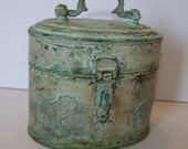Vintage Brass Mini Box with Amazing Patina and Lions