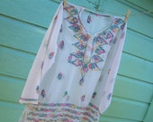 Womans Vintage Blouse, Hand Embroidered, Sheer, Sequined, Gypsy, Boho Indie Shirt 1970's