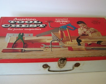 Vintage Childs Tool Box Tool Chest Children Toy SALE