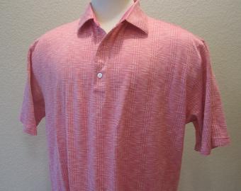 Vintage Greg Norman Golf Shirt 2XL Egyptian Cotton Pink Plaid