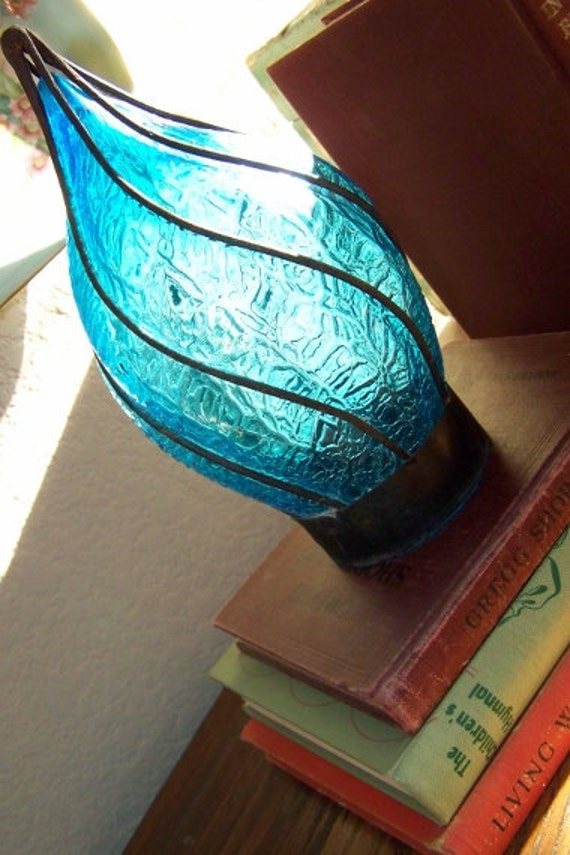 Crackle Glass Light Shade Antique Hand Blown