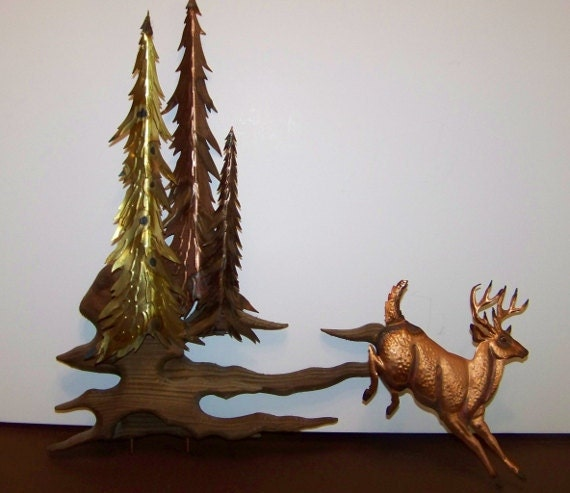 Mid Century,  Copper and Brass, Mixed Metal Sculpture with Deer, Wall Hanging