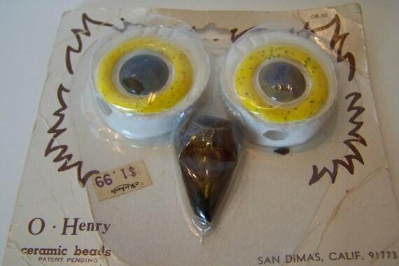 Macrame Owl Beads// Yellow Owl Eyes