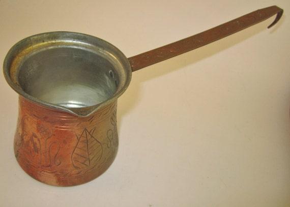 Brass Ladle Melting Pot Engraved Copper