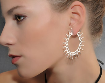 "Sterling Silver Hoop Earrings - ""Crown"""