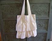 Shabby Chic Ruffle Tote Bag -  FREE SHIPPING