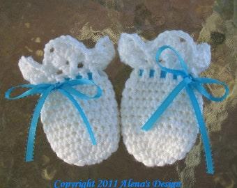 Crochet Pattern 044 Baby Thumb-less Lace Cuff  Mittens Crochet Patterns Baby Boy Girl White Baby Mittens Blue Pink Ribbon Newborn Gloves