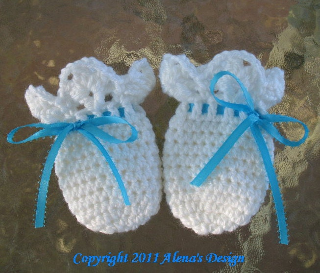 Crochet Pattern For Newborn Baby Sweater : Crochet Pattern 044 Baby Thumb-less Lace Cuff Mittens Crochet