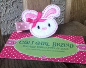 Pink and White Bunny Hair Clip Felt Embroidered Lil' Miss Hops-a-Lot