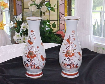 A Pair of Vintage Vases Hand Painted Porcelain Japanese, Home Decor Vases, Mothers Day Gifts, Birthday Gifts, Vintage Vases on Sale